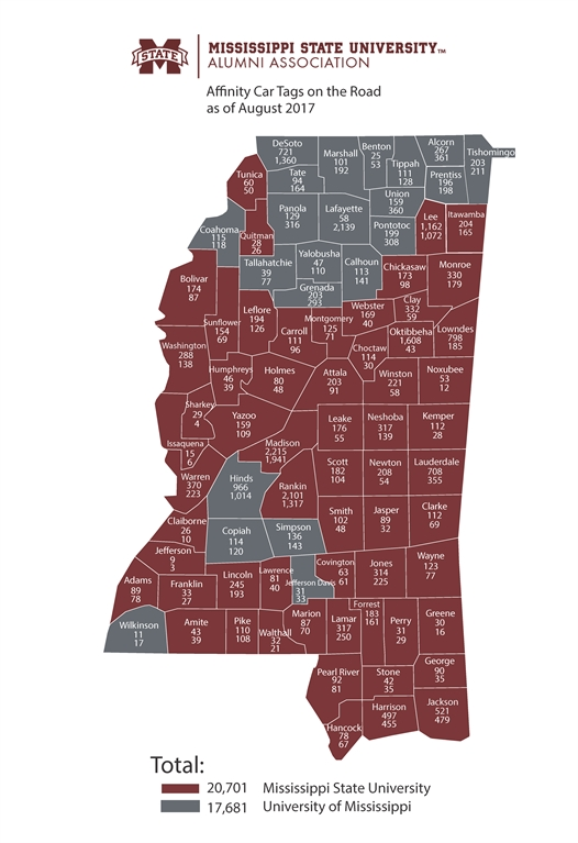 License Plate State Map.Mississippi State University Development And Alumni Msu Car Tag Map